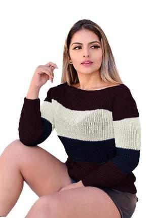 Blusa cardigan trico listrado gola canoa ref:990 (listras marsala/marinho)