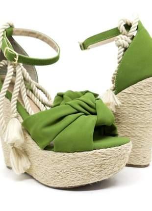Sandália anabela feminina salto corda verde