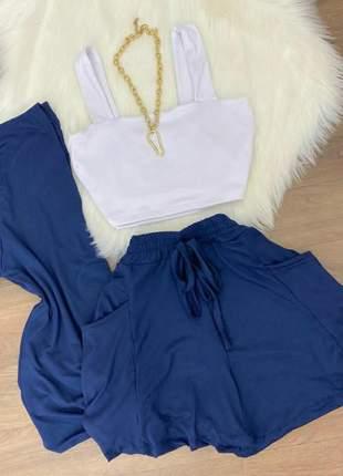 Conjunto top ,short e  kimono