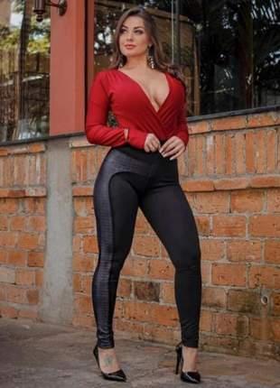 Calça cirre montaria leggin levanta bumbum, cor preto calca legging encorpado