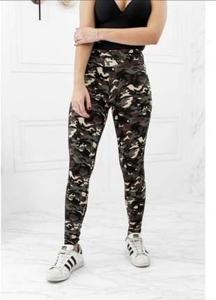 Calça legging camuflada fitness feminina moda fitness - camuflada exercito moda