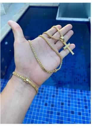Corrente pulseira pingente cadeado duplo 5mm banhado a ouro
