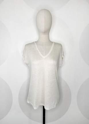 Camiseta decote v offwhite