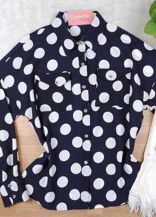 Camisa feminina poá cs30