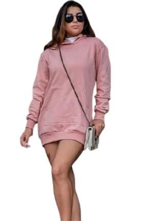 Blusão vestido moletom com capuz e bolso lançamento bvm-566