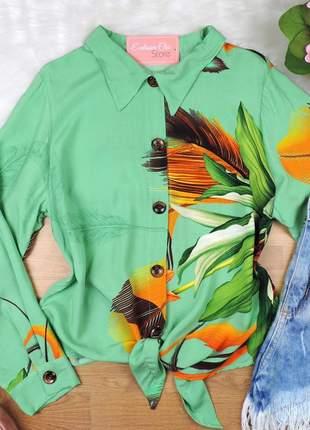 Camisa estampada com amarração cs69