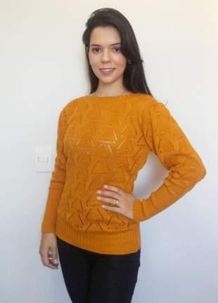 Blusa feminina tricô vazado