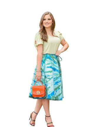 Saia jeans midi tie dye rodada moda evangélica feminina