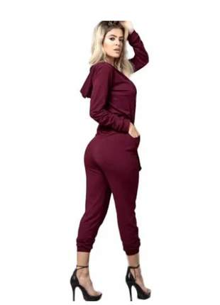 Macacao macaquinho manga longa capuz ziper roupas femininas