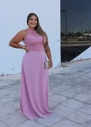 Vestido plus size de festa rosê longo moda festa casamento batizado madrinha noiva