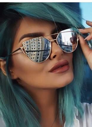 Óculos de sol feminino dourado espelhado gatinho retrô