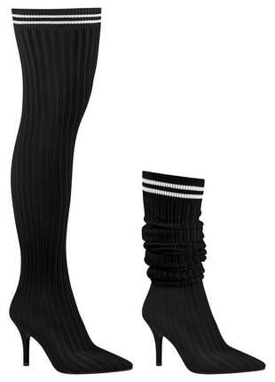 Bota meia sock boot vizzano preta bico fino salto médio