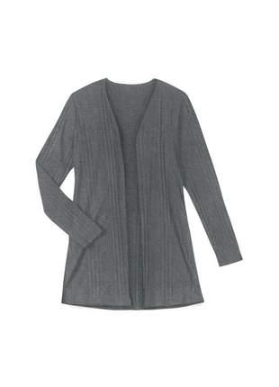 Kimono/ cardigan feminino alongado canelado