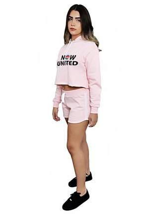 Conjunto cropped moletom feminino poliéster e algodão blusa now united
