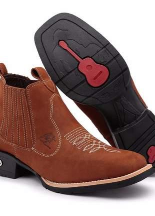 Botinha country texana estilo rodeio 100% de couro unissex rcfshoes lançamento