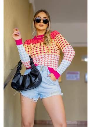 Cropped em tricot pied de poule