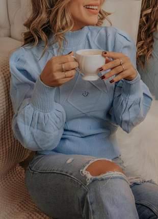 Blusa em tricot manga bufante