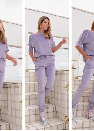 Conjunto de calça e blusa de plush aveludado