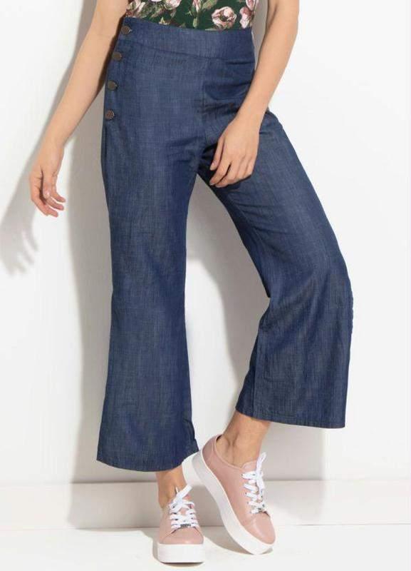 32d124cff Calça jeans pantacourt - R$ 139.99 (pantalona, cintura alta, modelo ...