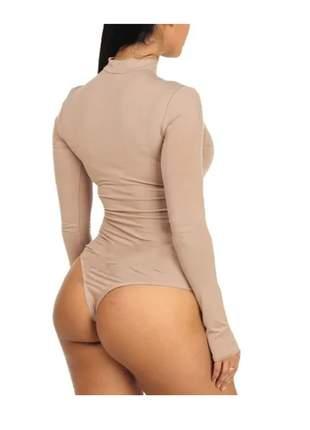 Body manga longa gola choker moda feminina bore meia estação