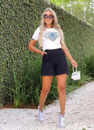 Conjunto de shorts e blusa moletinho de viscose branco e preto