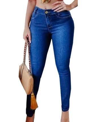 Calças jeans feminina cintura alta com lycra modelagem levanta bumbum