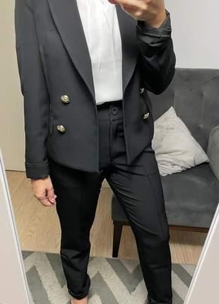 Blazer feminino alfaiataria balmain inspired botões dourados preto