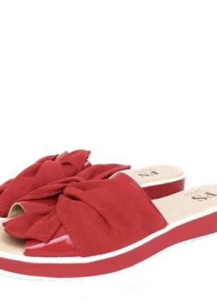 Sandalia rasteira flatform lace laço vermelha ultra confortavel sola macia
