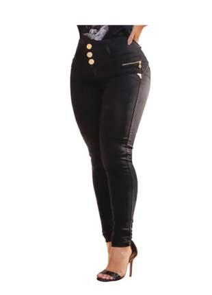 Calça barata cós alto hot pants lycra botões detalhes zípers