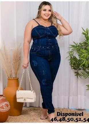 Macacão longo jeans plus com cinto