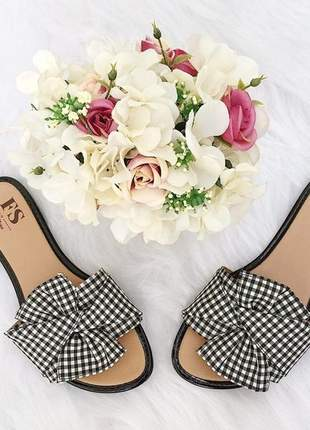 Sandalia rasteira lace fun store laço vichy xadrez preto e branco