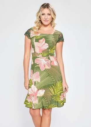 Vestido estampado floral manga curta com renda verde 06087