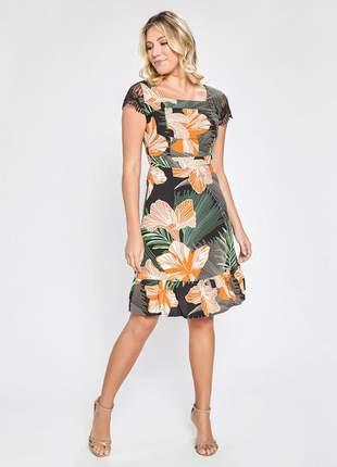 Vestido estampado floral manga curta com renda preto 06087