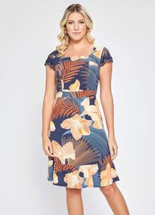 Vestido estampado floral manga curta com renda marinho 06087