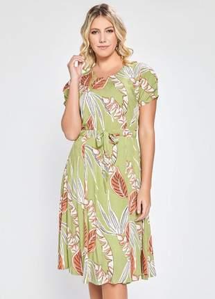 Vestido estampa folhagem manga curta com pregas verde 06089