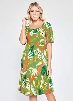 Vestido estampado floral com babado verde 06091