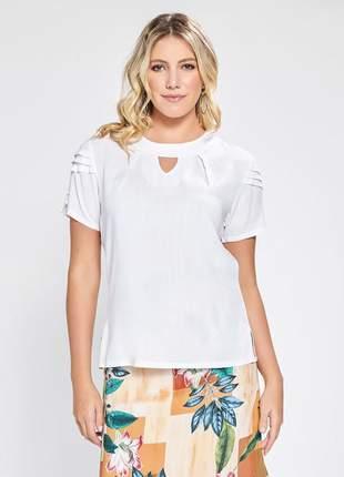 Blusa feminina de manga curta com pregas branco 06079