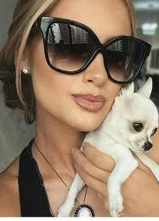 Óculos de sol preto degrade dita magnifique lentes grandes feminino