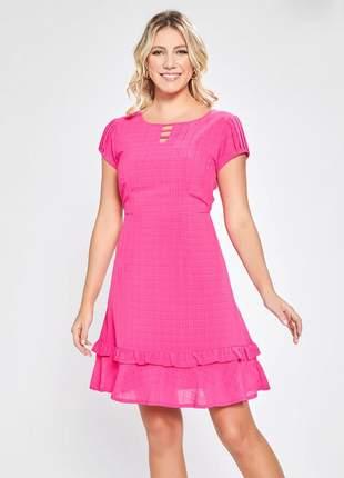 Vestido de babado estampado gola com recorte pink 06092