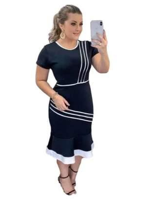 Vestido moda evangélica midi babado ref 695