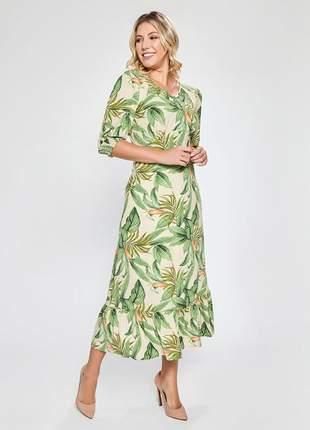 Vestido soltinho de manguinha midi estampado kaki 06094