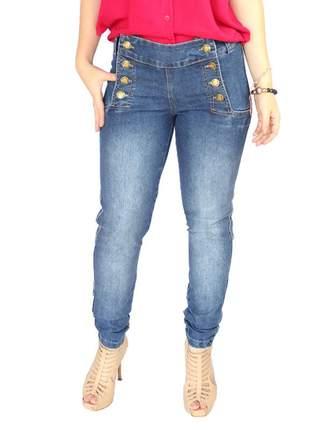 Calça jeans feminina botões laterais perfeita