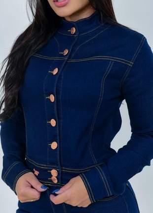 Jaqueta jeans feminina gola padre lycra  botões casaco