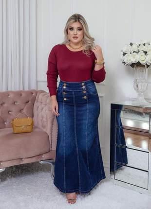 Saia jeans longa justa elastano moda evangélica feminina