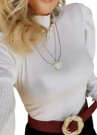 Blusa gola alta cacharrel manga comprida feminina inverno
