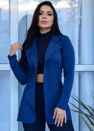 Casaco blazer max moda feminina neoprene corte a laser