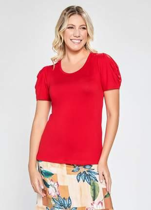 Blusa de viscose feminina manga curta vermelho 11594