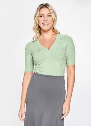Body liso feminino manga curta canelado verde 11595