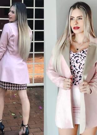 Casaco max courino moda feminina corte a laser