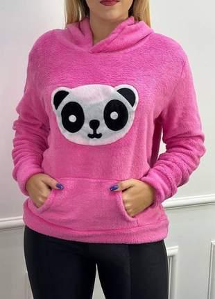 Blusa pelúcia panda moda feminina quentinha com capuz lã